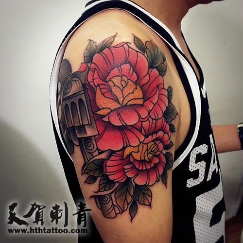 玫瑰花手枪纹身